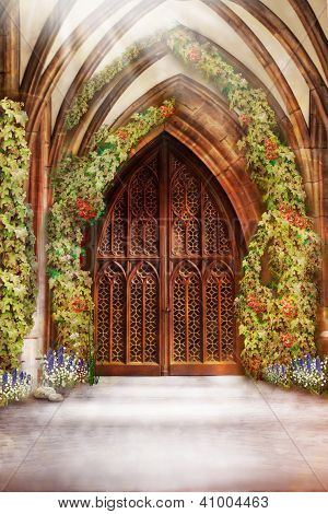Wooden Church Ancient Door. Antique Retro Archway And Doorway