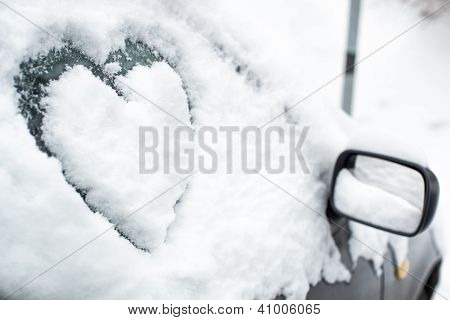 Buried By Snow Car With Heart On Side Window