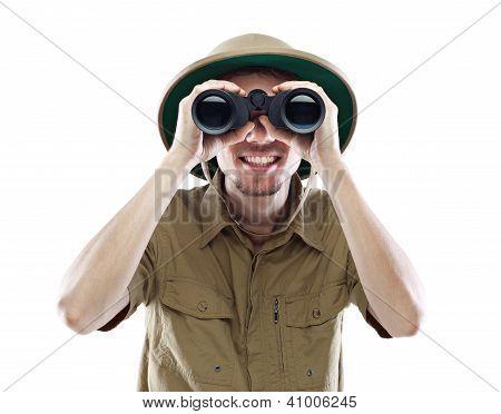 Exited Explorer Looking Through Binoculars