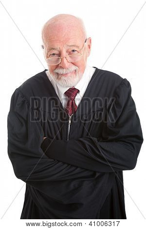 Portrait of a friendly, competent judge, isolated on white.