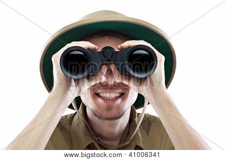 Happy Explorer Looking Through Binoculars