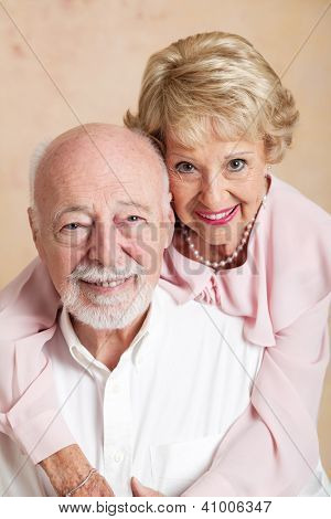 Studio portrait of a beautiful senior couple in love.