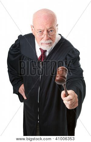 No nonsense, skeptical old judge banging his gavel.  Isolated on white.