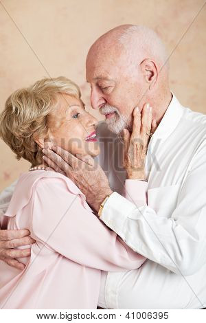 Senior couple is still passionate with each other after many decades of marriage.