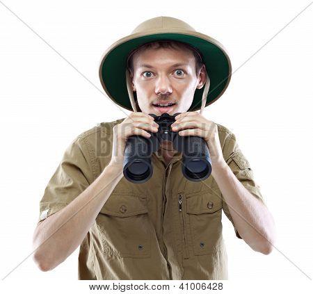 Exited Explorer Holding Binoculars