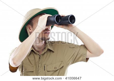 Exited Explorer Looking Through Binoculars