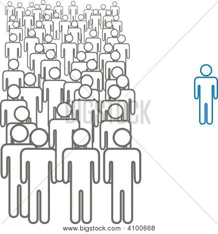 Standout Person With A Crowd Of Gray Symbol People