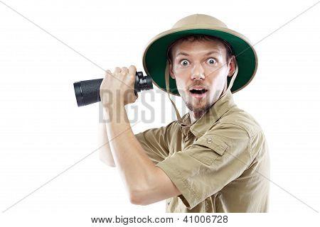 Explorer Holding Binoculars