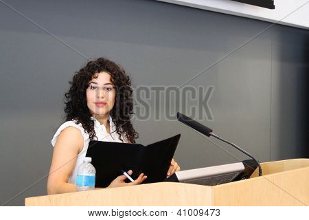 Woman ready to give a speech