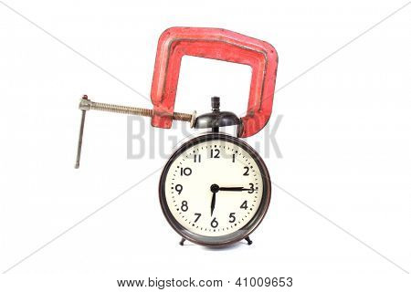 Alarm clock in a clamp