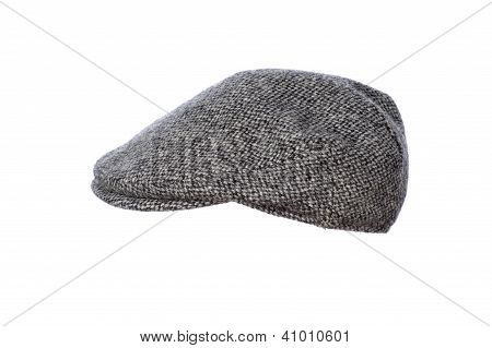 Grey Tweed Flat Cap Isolated