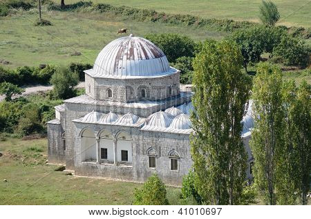 view of the Lead Mosque, an Ottoman architecture in the plain below the hill of the Rozafa Castle