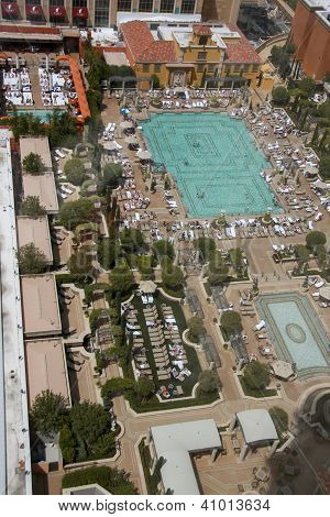 Las Vegas, Nevada - May 4, 2009: Aerial View On Venetian Hotel Roof Placed Swimming Pool In Las Vega