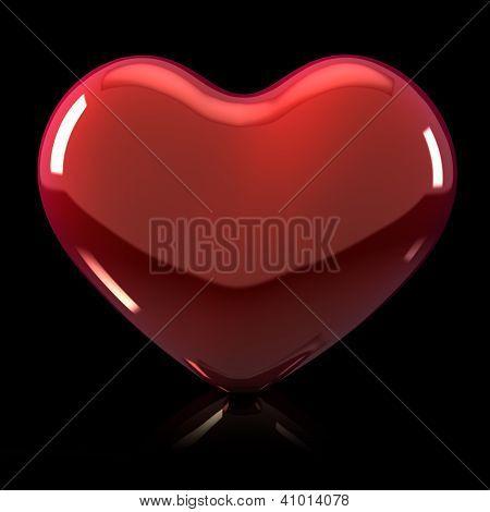 3D Shiny Heart Illustration On Black Background