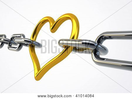 Valentine Heart Shaped Metal Between Chains Holding Links Together, Illustration Isolated On White B