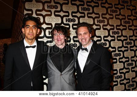 LOS ANGELES - JAN 13:  Dev Patel, John Gallagher Jr, Thomas Sadoski arrives at the 2013 HBO Post Golden Globe Party at Beverly Hilton Hotel on January 13, 2013 in Beverly Hills, CA..