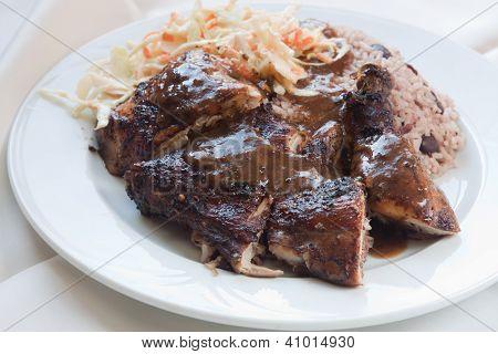 Festa junina frango com arroz - estilo caribenho