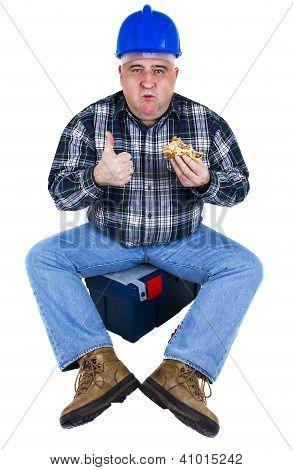 Happy Worker Enjoying His Hamburger