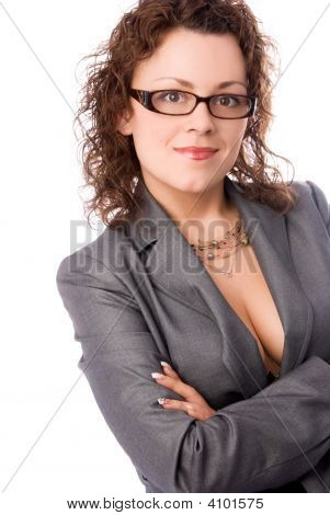 Sexy Businesswoman Wearing Glasses