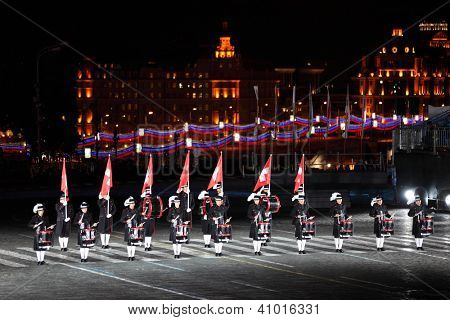 MOSCOW - SEPTEMBER 4: Secret Corps of drummers of Switzerland at Military Music Festival Spasskaya Tower on September 4, 2011 in Moscow, Russia.
