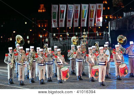 MOSCOW - AUGUST 31: Orchestra of France Foreign Legion at Military Music Festival Spasskaya Tower on August 31, 2011 in Moscow, Russia.