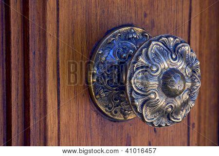 Brass Brown Knocker And Wood  Door