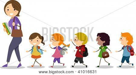Illustration of School Kids Following Their Teacher