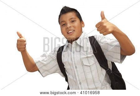 Happy Young Hispanic School Boy with Thumbs Up Isolated on a White Background.