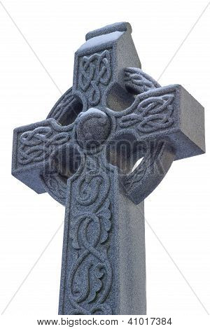Celtic Cross Head With Snow Isolated On White