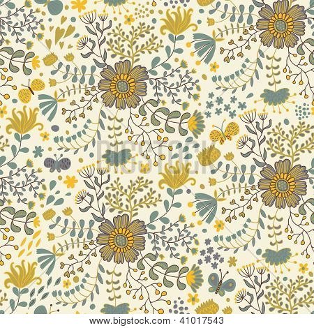 Vintage floral background. Butterflies in flowers �¢�?�? seamless pattern
