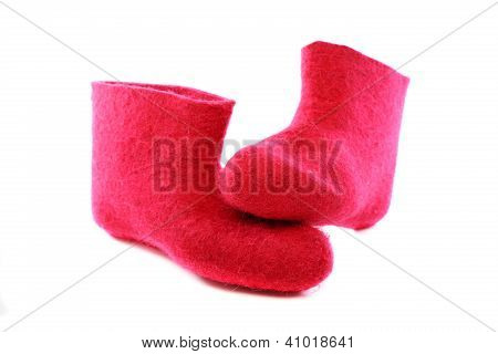 Bright Pink Felt Boots.