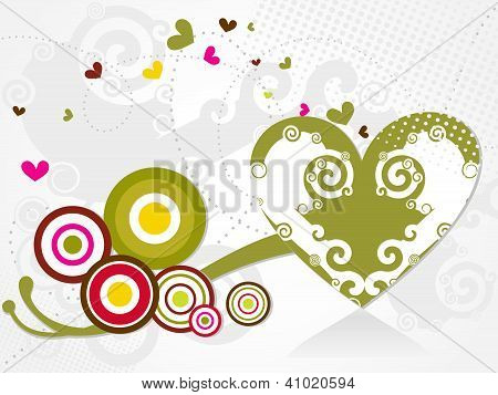 Abstract Heart Backgrond With Swirls
