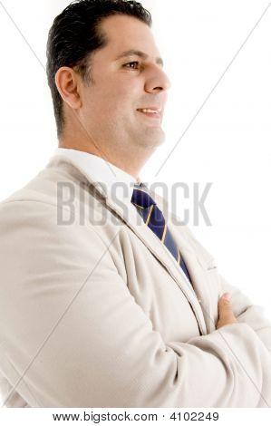 Meio envelhecido profissional pessoa posando