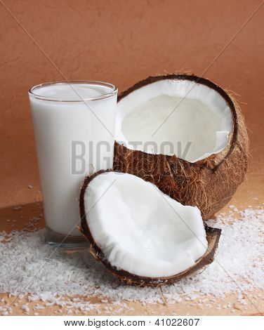 Glass Of Coco Milk With Coconut
