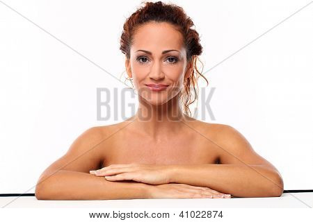 Beautiful natural middle aged woman  isolated on white background