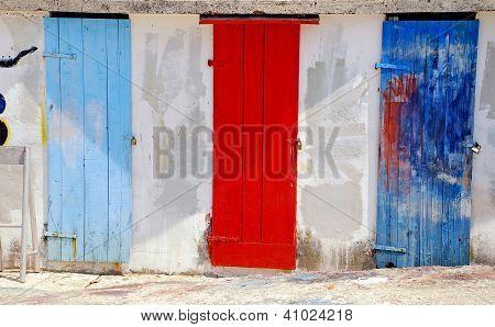 Multicolored Mediterranean Run-down Doors