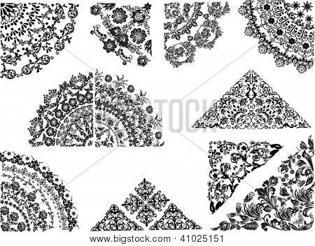 Ilustración con decoraciones en negras sobre fondo blanco