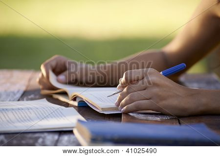 Young People And Education, Woman Studying For University Test