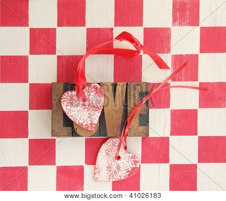 red and white checks with hearts and love word