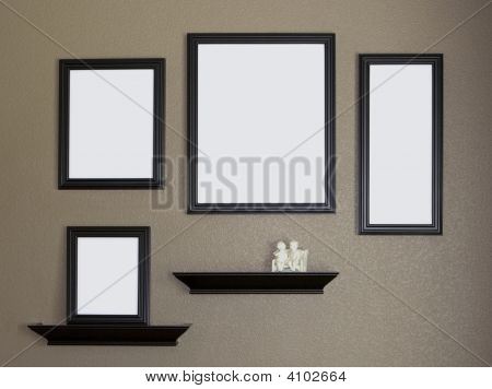 Black Picture Frame And Shelves Collage