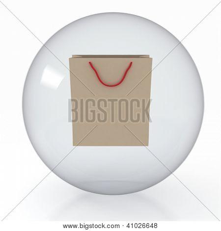 Papier-Shoppingbag im transparenten Bereich auf weißem Hintergrund