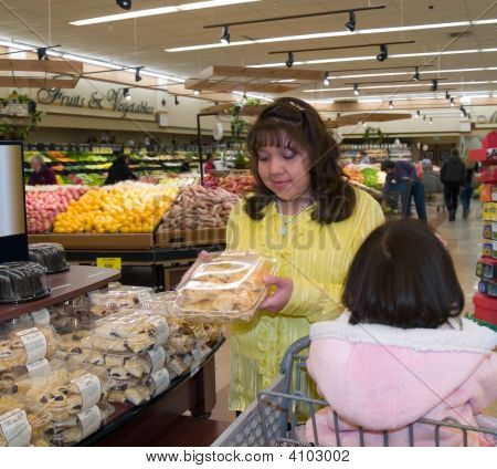Native American Woman In A Grocery Store