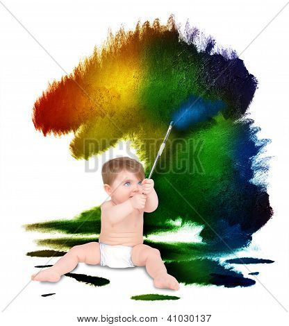 Baby Artist Painting On White