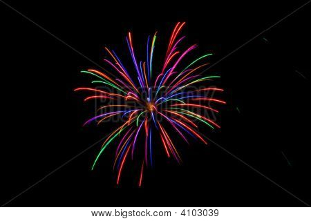 Single Burst Of Multi-Colored Fireworks