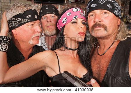 Sexy Biker Woman With Boyfriends