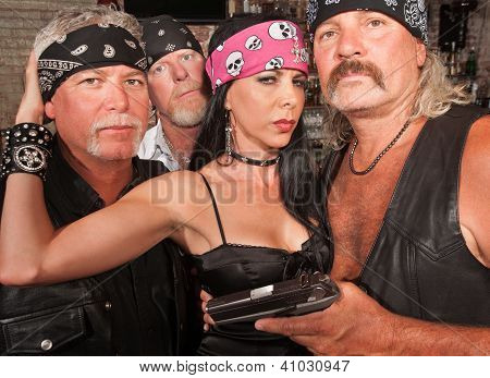 Biker Gang With Beautiful Woman