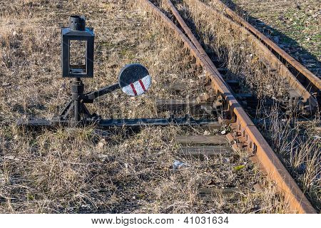 Old unused narrow-gauge railway switch