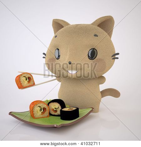 Kitten And Sushi