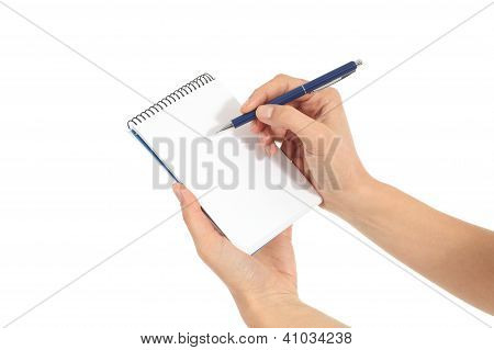 Woman Hands Writing On A Notebook