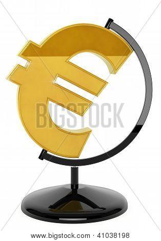 Gold Euro Symbol As Globe